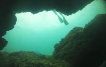 scuba diver fins cave