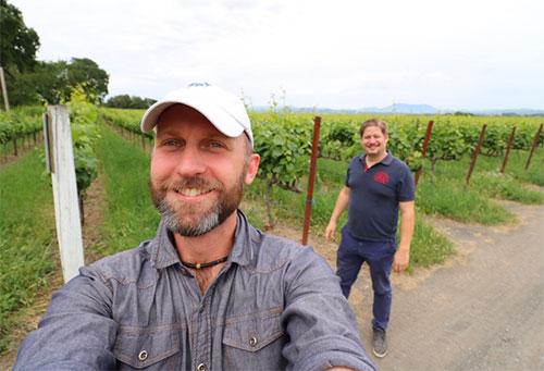 selfie at vineyard